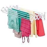 mDesign Tendedero extensible de metal – Práctico tendal plegable para secar ropa en el lavadero...